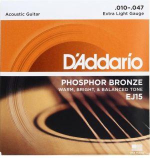 D'Addario EJ15 – Phosphor Bronze Extra Light Acoustic Strings