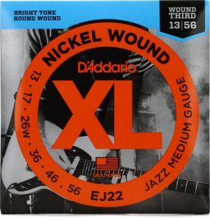 D'Addario EJ22 Nickel Wound Electric Strings – .013-.056 Jazz Medium Wound 3rd