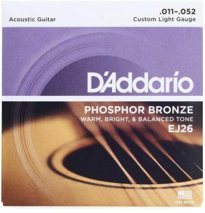 D'Addario EJ26 – Phosphor Bronze Custom Light Acoustic Strings