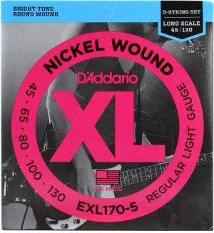 D'Addario EXL170-5 Regular Light Nickel Wound 5-string Long Scale Bass Strings – .045-.130