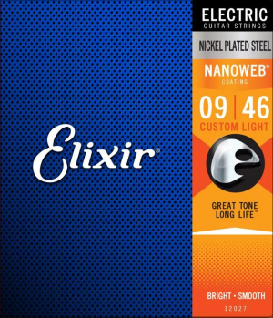 Elixir Strings 12027 Nanoweb Electric Guitar Strings – .009-.046 Custom Light